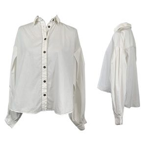 Free People White Cliffs Button Down Top Ivory XS